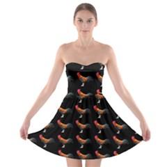 Background Pattern Chicken Fowl Strapless Bra Top Dress