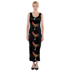 Background Pattern Chicken Fowl Fitted Maxi Dress