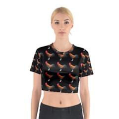 Background Pattern Chicken Fowl Cotton Crop Top