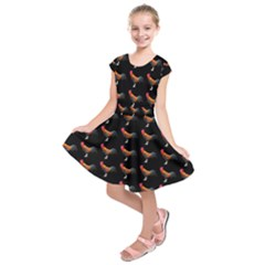 Background Pattern Chicken Fowl Kids  Short Sleeve Dress