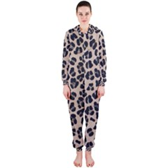 Background Pattern Leopard Hooded Jumpsuit (ladies)