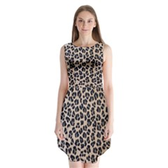 Background Pattern Leopard Sleeveless Chiffon Dress