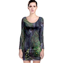 Backdrop Background Abstract Long Sleeve Bodycon Dress