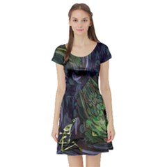 Backdrop Background Abstract Short Sleeve Skater Dress