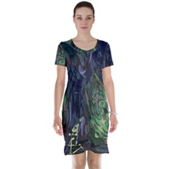 Backdrop Background Abstract Short Sleeve Nightdress