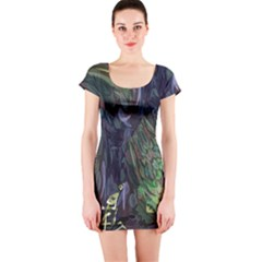Backdrop Background Abstract Short Sleeve Bodycon Dress