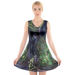 Backdrop Background Abstract V-Neck Sleeveless Skater Dress