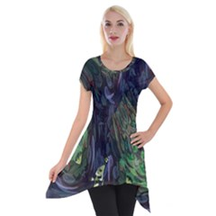 Backdrop Background Abstract Short Sleeve Side Drop Tunic