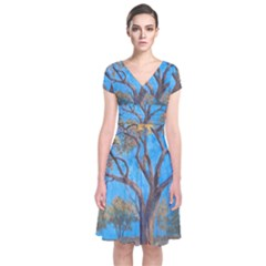 Turkeys Short Sleeve Front Wrap Dress