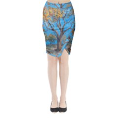 Turkeys Midi Wrap Pencil Skirt