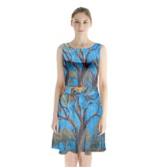 Turkeys Sleeveless Chiffon Waist Tie Dress