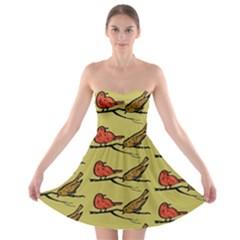 Bird Birds Animal Nature Wild Wildlife Strapless Bra Top Dress