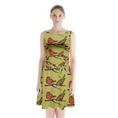 Bird Birds Animal Nature Wild Wildlife Sleeveless Chiffon Waist Tie Dress