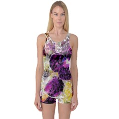 Background Flowers One Piece Boyleg Swimsuit