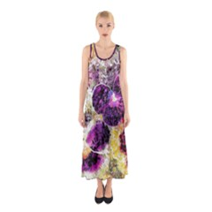 Background Flowers Sleeveless Maxi Dress