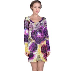 Background Flowers Long Sleeve Nightdress
