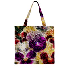 Background Flowers Zipper Grocery Tote Bag