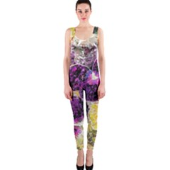 Background Flowers Onepiece Catsuit