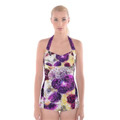 Background Flowers Boyleg Halter Swimsuit
