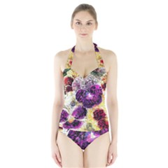 Background Flowers Halter Swimsuit