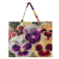 Background Flowers Zipper Large Tote Bag
