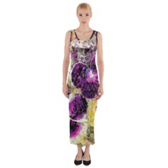 Background Flowers Fitted Maxi Dress