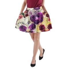 Background Flowers A Line Pocket Skirt