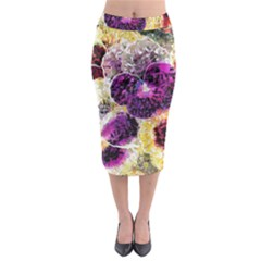 Background Flowers Midi Pencil Skirt
