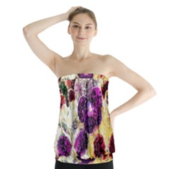 Background Flowers Strapless Top