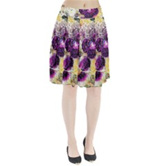 Background Flowers Pleated Skirt