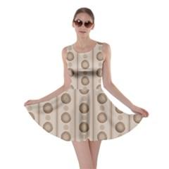 Background Rough Stripes Brown Tan Skater Dress