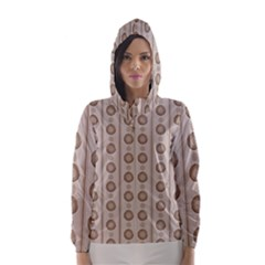 Background Rough Stripes Brown Tan Hooded Wind Breaker (women)