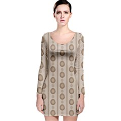 Background Rough Stripes Brown Tan Long Sleeve Velvet Bodycon Dress