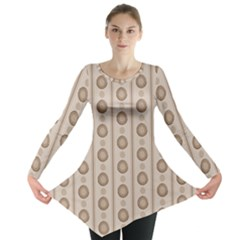 Background Rough Stripes Brown Tan Long Sleeve Tunic