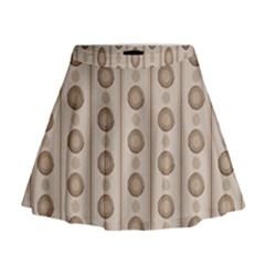 Background Rough Stripes Brown Tan Mini Flare Skirt