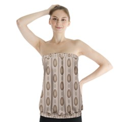 Background Rough Stripes Brown Tan Strapless Top