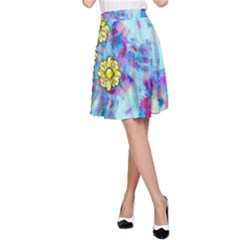 Backdrop Background Flowers A Line Skirt