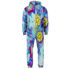 Backdrop Background Flowers Hooded Jumpsuit (men)