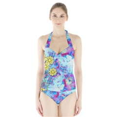 Backdrop Background Flowers Halter Swimsuit