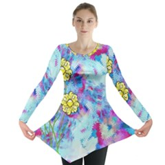 Backdrop Background Flowers Long Sleeve Tunic