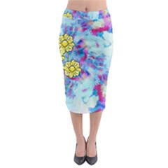Backdrop Background Flowers Midi Pencil Skirt