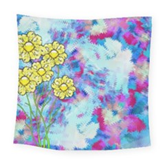 Backdrop Background Flowers Square Tapestry (large)