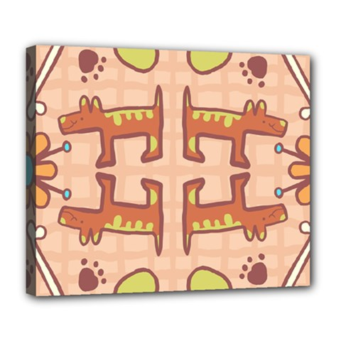 Dog Abstract Background Pattern Design Deluxe Canvas 24  X 20