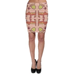 Dog Abstract Background Pattern Design Bodycon Skirt