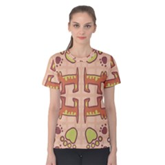 Dog Abstract Background Pattern Design Women s Cotton Tee