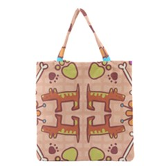 Dog Abstract Background Pattern Design Grocery Tote Bag