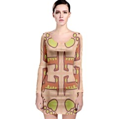 Dog Abstract Background Pattern Design Long Sleeve Bodycon Dress