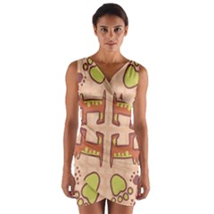 Dog Abstract Background Pattern Design Wrap Front Bodycon Dress