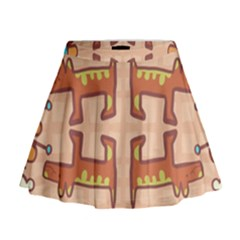 Dog Abstract Background Pattern Design Mini Flare Skirt