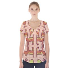 Dog Abstract Background Pattern Design Short Sleeve Front Detail Top